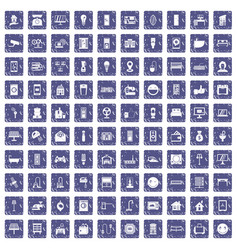 100 smart house icons set grunge sapphire vector