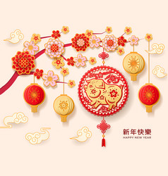 2019 chinese happy new year greetings with pig vector