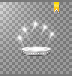 Abstract shining podium background with spotlights vector