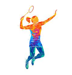 Abstract young woman badminton player jumping vector