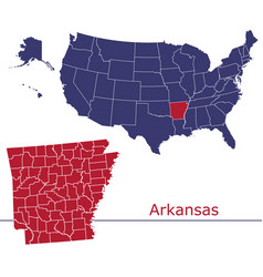 arkansas map counties with usa map vector image