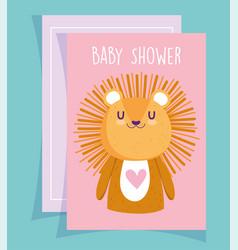 baby shower cute little lion portrait cartoon vector image