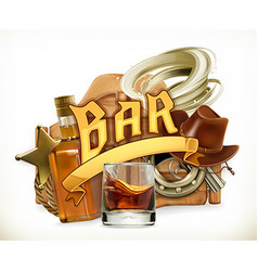 Bar logo Western retro style 3d emblem vector