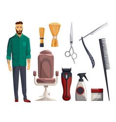 barbershop equipments vintage barber shop set vector image