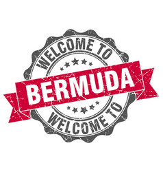 Bermuda round ribbon seal vector