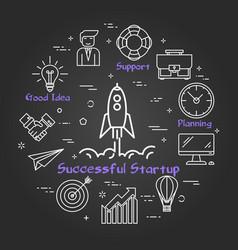 Blackboard round successful startup concept vector