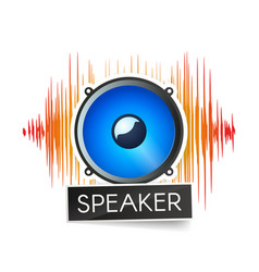 Blue speaker and orange waveforms on white vector