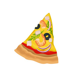 bright flat icon of triangle pizza slice vector image