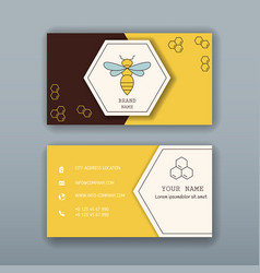 Business card template with bee logo vector