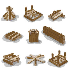 Campfire stumps logs collection isolated on white vector