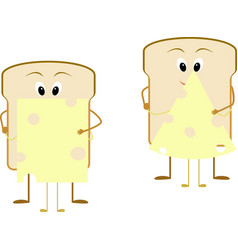 Cartoon breakfast bread and cheese vector