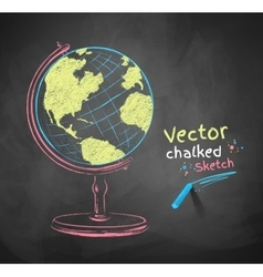 Chalk drawn globe vector image