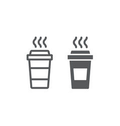 coffee line and glyph icon caffeine and drink vector image