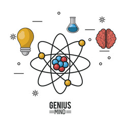 colorful poster of genius mind with atom in vector image
