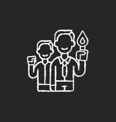 Commitment chalk white icon on black background vector