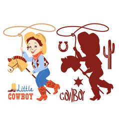 Cowboy baby birthday party set western elements vector