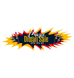 Crazy diwali sale abstract banner with rocket vector