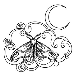 Crescent moon and moth over ornate cloud tattoo vector