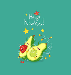 cute avocado wish you a happy new year vector image