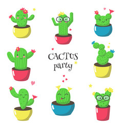 cute funny cartoon cactuses isolated vector image