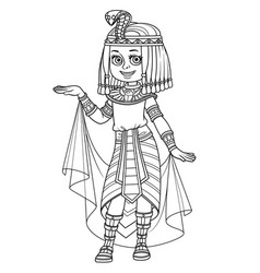 Cute girl in egyptian princess costume outlined vector