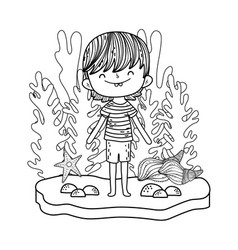 cute little boy undersea character vector image
