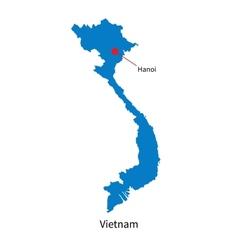 Detailed map vietnam and capital city hanoi vector