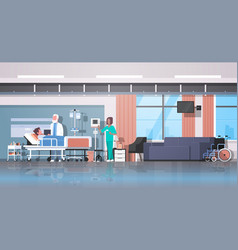 Doctor and nurse visiting patient man lying bed vector