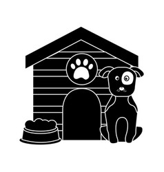 Dog with house and food bowl pet icon image vector