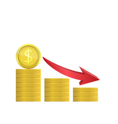 dollar coins with red arrow vector image