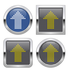 Dotted icon upward direction arrow on glossy vector