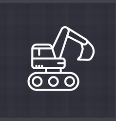 excavator icon linear pictogram vector image