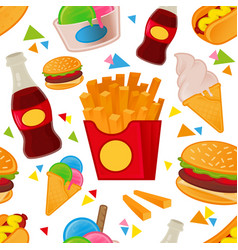 fast food pattern set vector image