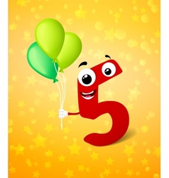 Fifth birthday greeting card vector
