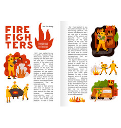 Fire fighting flat infographics vector