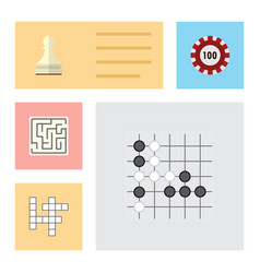 flat icon play set of gomoku guess pawn and vector image