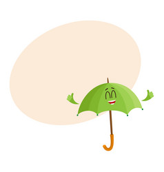 Funny smiling umbrella character giving showing vector