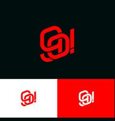 g and o monogram bound lines emblem vector image