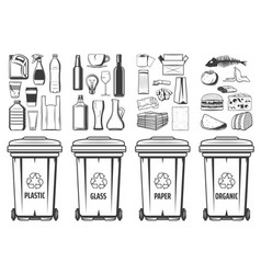 garbage recycling bins wastes trash containers vector image
