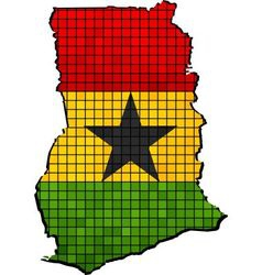 Ghana map with flag inside vector image