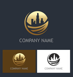 Gold cityscape environment building logo vector