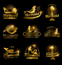 Golden mermaid labels shiny resort beach spa vector