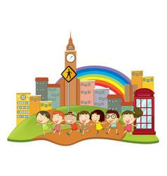 Happy children in the city vector