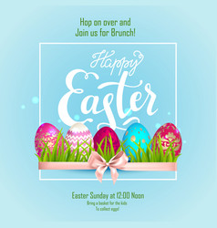 happy easter lettering eggs and tulips vector image