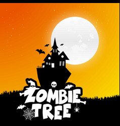 happy halloween scary night background vector image