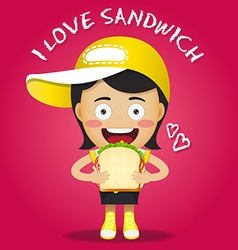 happy woman carrying big sandwich vector image