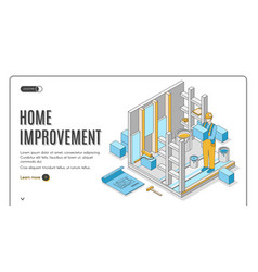 home improvement isometric landing page banner vector image