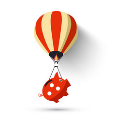 hot air balloon with piggy bank vector image