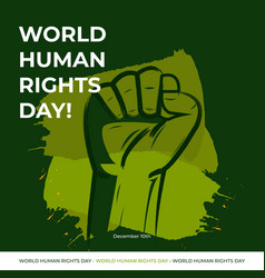 Human rights day with green vector