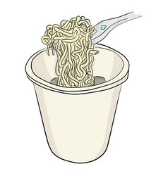 Instant noodle in bowl with plastic fork vector